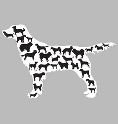 dogs silhouettes inside one dog vector image
