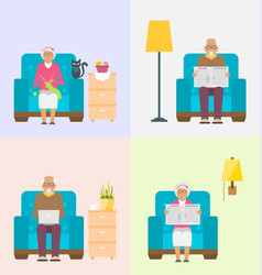 Leisure for pensioners reading newspaper vector