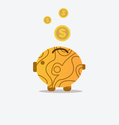 pig bank and wood texture with coin icon saving vector image