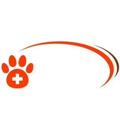 background with paw and veterinarian cross vector image vector image