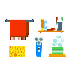 Bath equipment icons shower flat style colorful vector