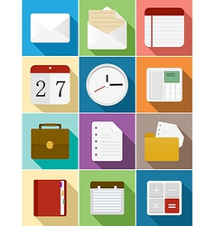 Business flat icons set design vector image