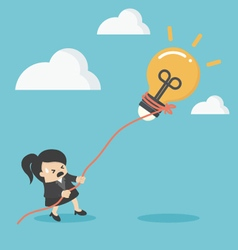 business woman pulling bulb with rope vector image vector image