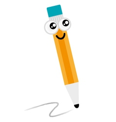 Cute happy pencil mascot isolated on white vector