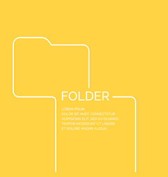 folder in a linear style on a yellow vector image vector image