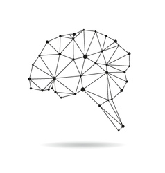 Geometric brain design silhouette vector image vector image