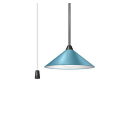 retro hanging lamp in blue design with cord switch vector image