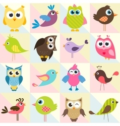 background with funny birds and owls vector image
