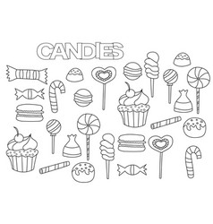 hand drawn candy bar set coloring book page vector image