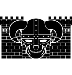 two tower and skull of fantasy warrior vector image