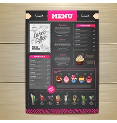 Vintage chalk drawing dessert menu design vector image
