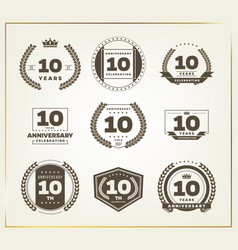 10 years anniversary logo set vector
