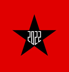 2022 black star on red background with new year vector image