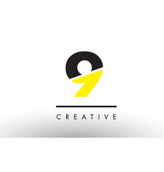 9 black and yellow number logo design vector image