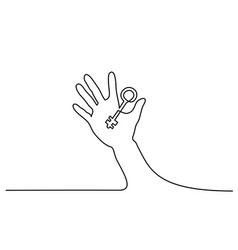 abstract hand holding key continuous one line vector image