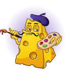 artist cheese cartoon character vector image