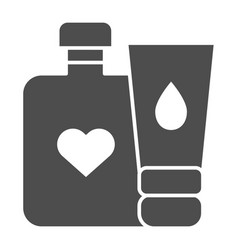 Baby cream bottles solid icon lotion and cream vector