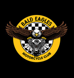 Bald eagle badge grip the motorcycle engine vector