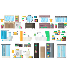Bathroom equipment collection vector