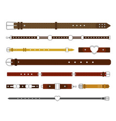 Belts strap and buckles set fashionable leather vector