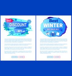 best discount -30 off winter sale labels posters vector image