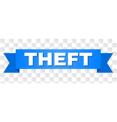 Blue ribbon with theft text vector