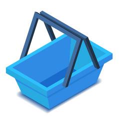 Blue shopping basket icon isometric style vector