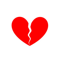broken heart end love symbol parting vector image
