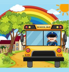 Bus driver driving schoolbus on road vector