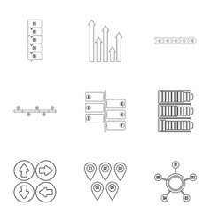Business analyst icons set outline style vector
