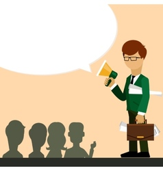 Businessman investor speaks in megaphone vector