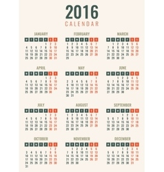 Calendar for 2016 Week Starts Monday Simple vector image