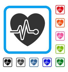 Cardio pulse framed icon vector