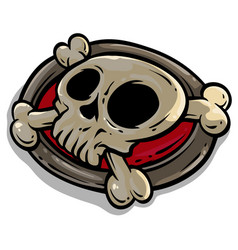 Cartoon skull with crossed bones icon vector