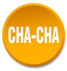 Cha-cha orange round flat isolated push button vector