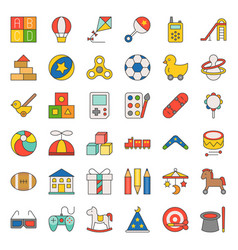 Children toy filled outline icon set vector