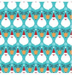 christmas santa claus and deer seamless pattern vector image