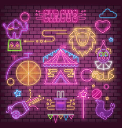 Circus neon glowing icons vector