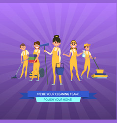 cleaning service cartoon men and women with vector image