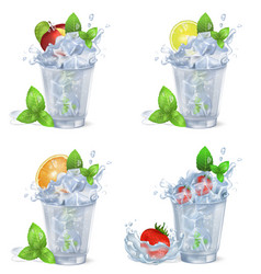Cold fruity drinks with ice isolated vector