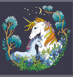 colorful magic unicorn isolated on gray vector image