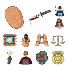 Crime and punishment cartoon icons in set vector