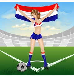 Croatian girl soccer fan vector