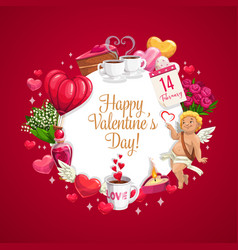 Cupid hearts and valentines day holiday flowers vector
