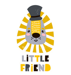 Cute cartoon leon boy in hat childish print vector