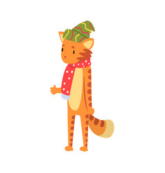 Cuts tiger wearing knitted hat and scarf vector