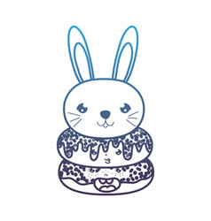 Degraded line kawaii cute rabbit head and donuts vector