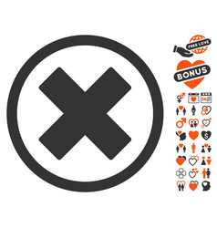 Delete x-cross icon with dating bonus vector