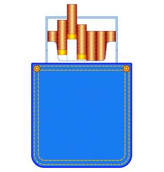 Denim pocket with cigarette pack vector
