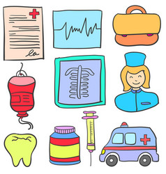 Doodle of object medical collection vector